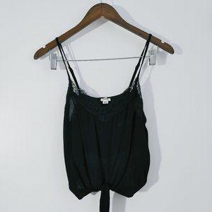 💰3/20$💰GARAGE black lace trim knotted crop top